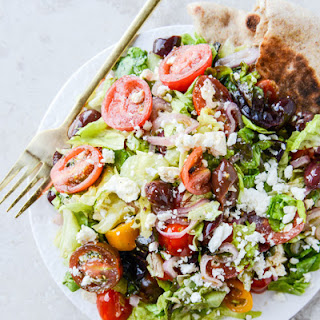 My Favorite Greek Salad with Homemade Whole Wheat Pita Bread