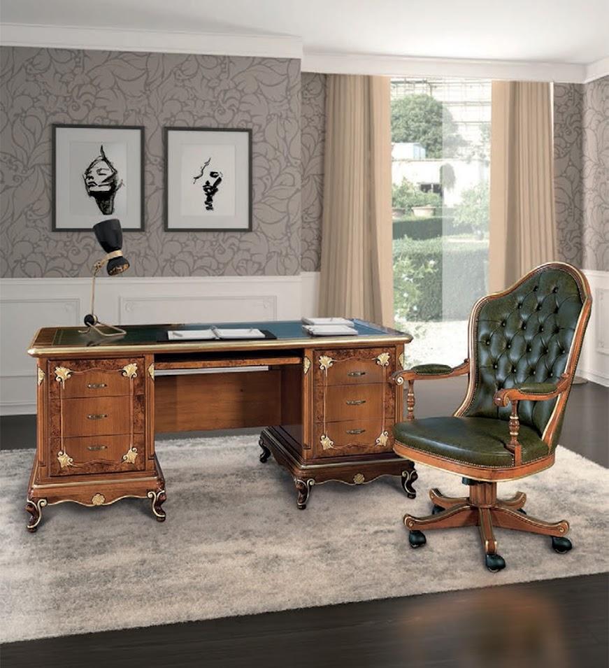 Scrivania art dec scrivanie mobili classici stile per for Scrivania soggiorno