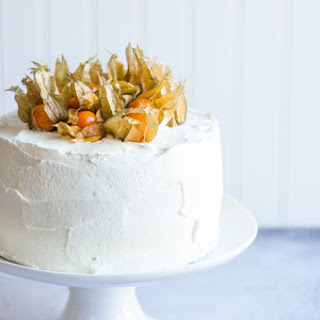 Vanilla Sponge Cake with Mascarpone Cream Frosting.