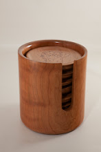 "Photo: Paul Mazzi 5 1/2"" x 6"" coasters and holder [cherry]"