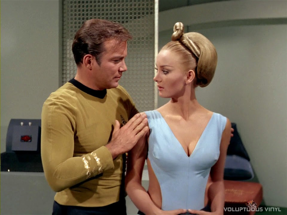 Captain Kirk (William Shatner) flirting with Kelinda (Barbara Bouchet) in Star Trek.