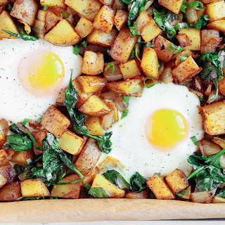 Roasted Potato, Spinach and Egg Breakfast Hash.