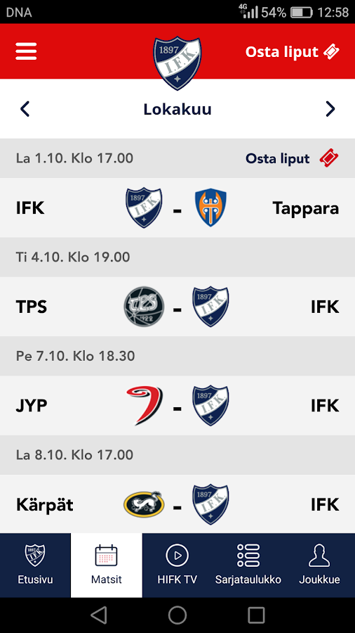 HIFK- screenshot