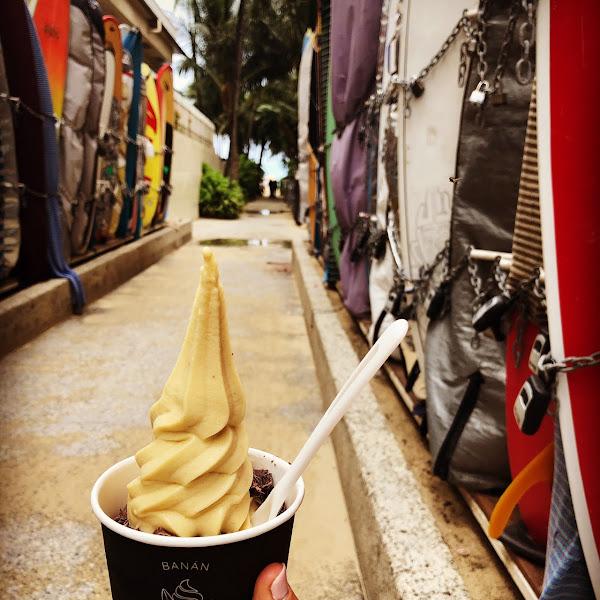 Banana ice cream with local dark chocolate!