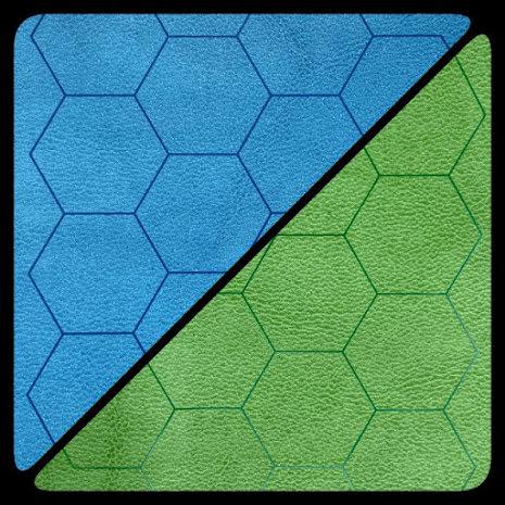 Battlemat™ 1inch Reversible Blue-Green Hexes (release Juli)