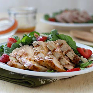 Pork Chop Salad with Strawberries and Almonds.