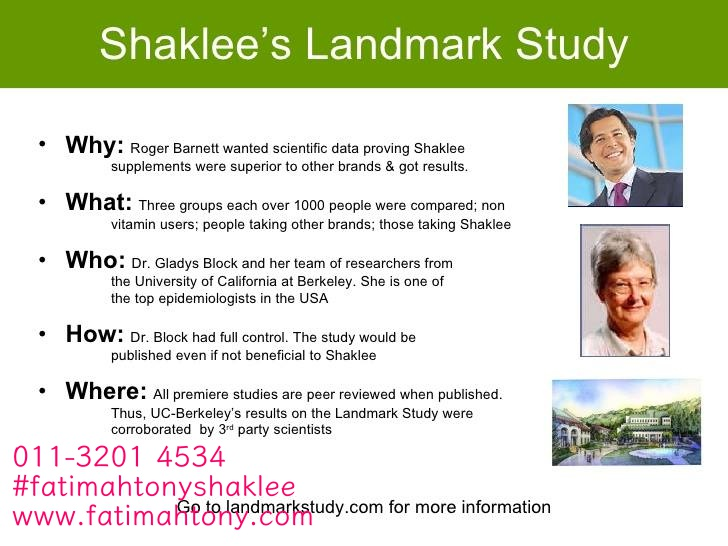 Bagaimana Landmark Study Untuk Shaklee Di Jalankan..