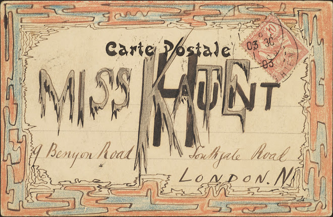 <p> <strong>L&eacute;on Coupey<br /> To Miss Kate Hunt (London)</strong><br /> Ink &amp; crayon on card<br /> 3 &frac12;&quot; x 5 &frac12;&quot;<br /> 1903</p> <p> Collection Pierre Coupey, Vancouver<br /> Set 1.4&nbsp;</p>
