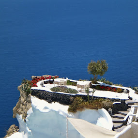 Reservation for Two by Amanda Dacey - Travel Locations Landmarks ( greece, oia, view, santorini, cyclades )