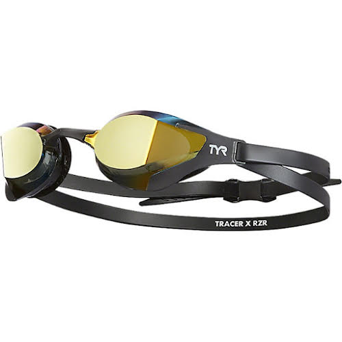 TYR Tracer X RZR Mirrored Adult Swim Goggles - Black/Black, Gold Mirror Lens