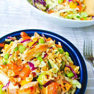 Rainbow Ramen Noodle Salad With Asian-chili Dressing