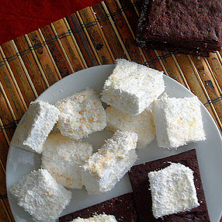 Toasted Coconut Marshmallows with Chocolate Graham Crackers
