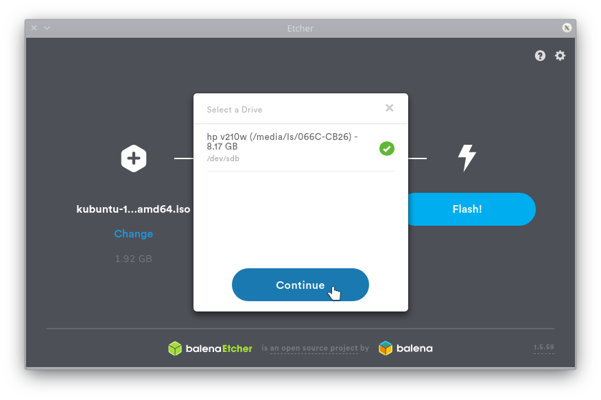 Etcher: Selecting the correct USB drive