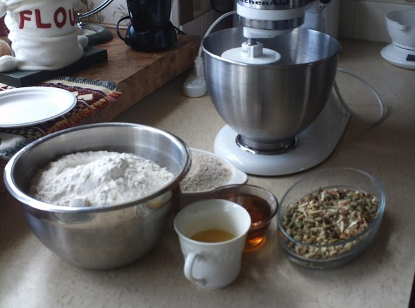 Assemble all ingredients,  white flour in one bowl and rye, wheat germ and...