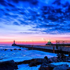 Blue Morning by Glen Sande - Landscapes Sunsets & Sunrises ( winter, canal park, outdoors, lakes, long exposure, duluth mn, sunrise, ariel bridge, pentax k-5,  )