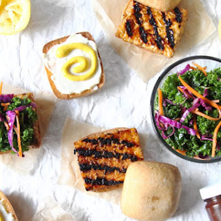 Grilled BBQ Tempeh Silders with Kale Slaw.