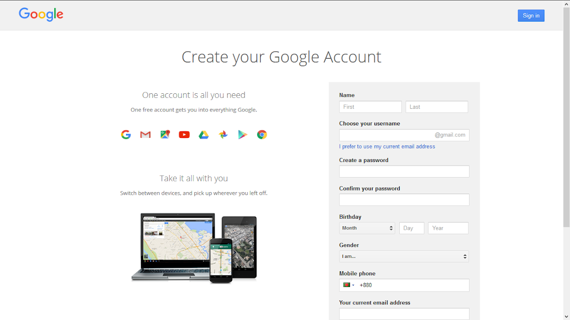Create your Gmail or Google Account