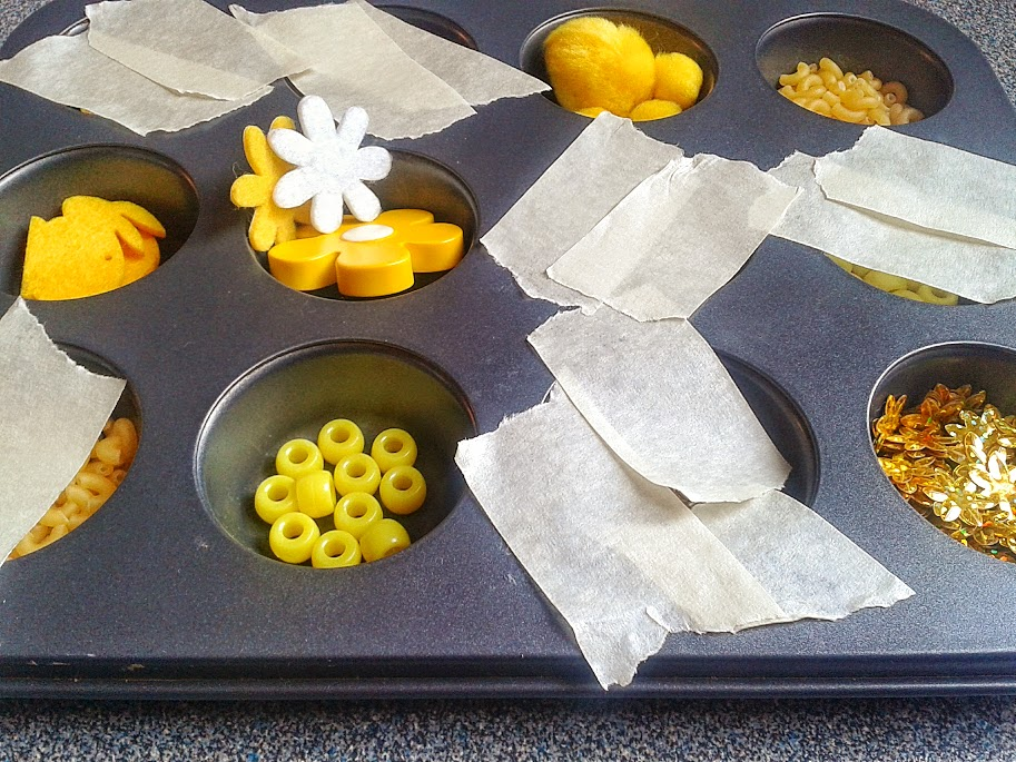 Welcome to Mommyhood: yellow muffin tin activity
