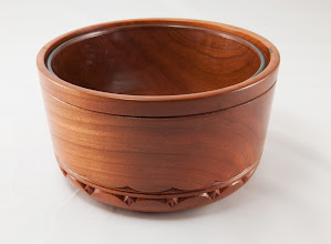 "Photo: Margaret Follas 7"" x 4"" carved bowl [cherry]"
