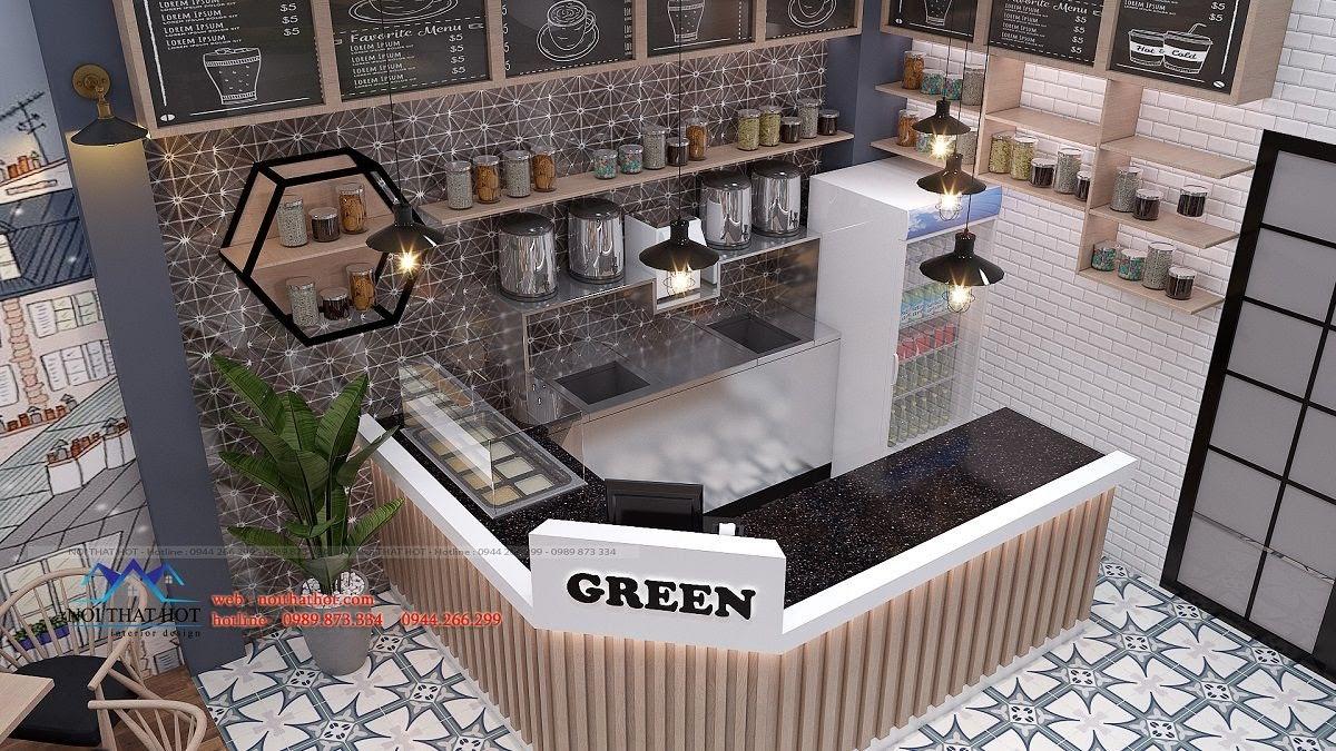 thiết kế quán trà sữa green 10