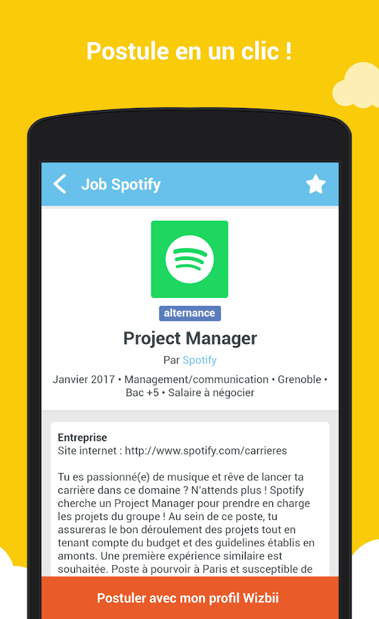 Wizbii - Job stage alternance – Capture d'écran