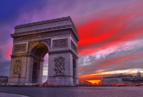 Arc de Triomphe at the sunset by Michal Fokt - City,  Street & Park  Historic Districts ( paris, arc, sunset,  )