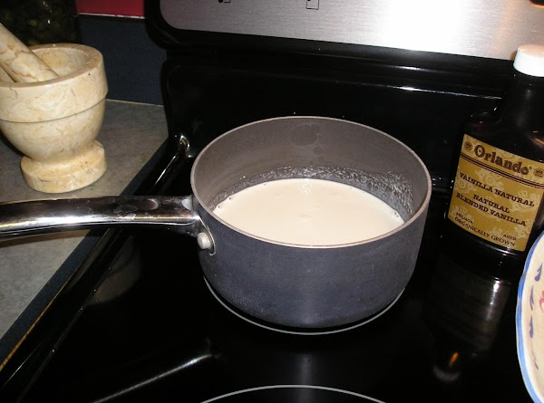 Heat the half and half over the stove top with the vanilla extract. Medium...