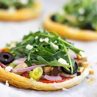 Mini Vegetarian Puff Pastry Pizzas.
