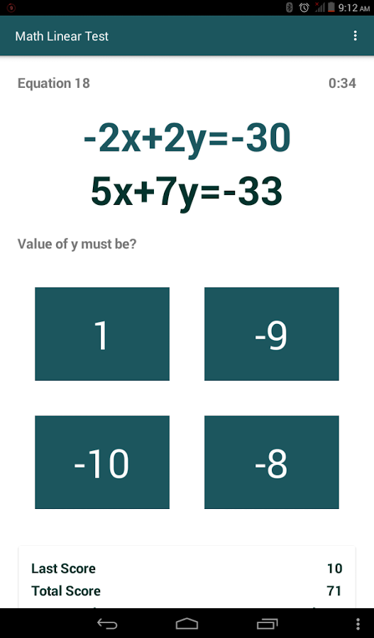 Math Linear Test- screenshot