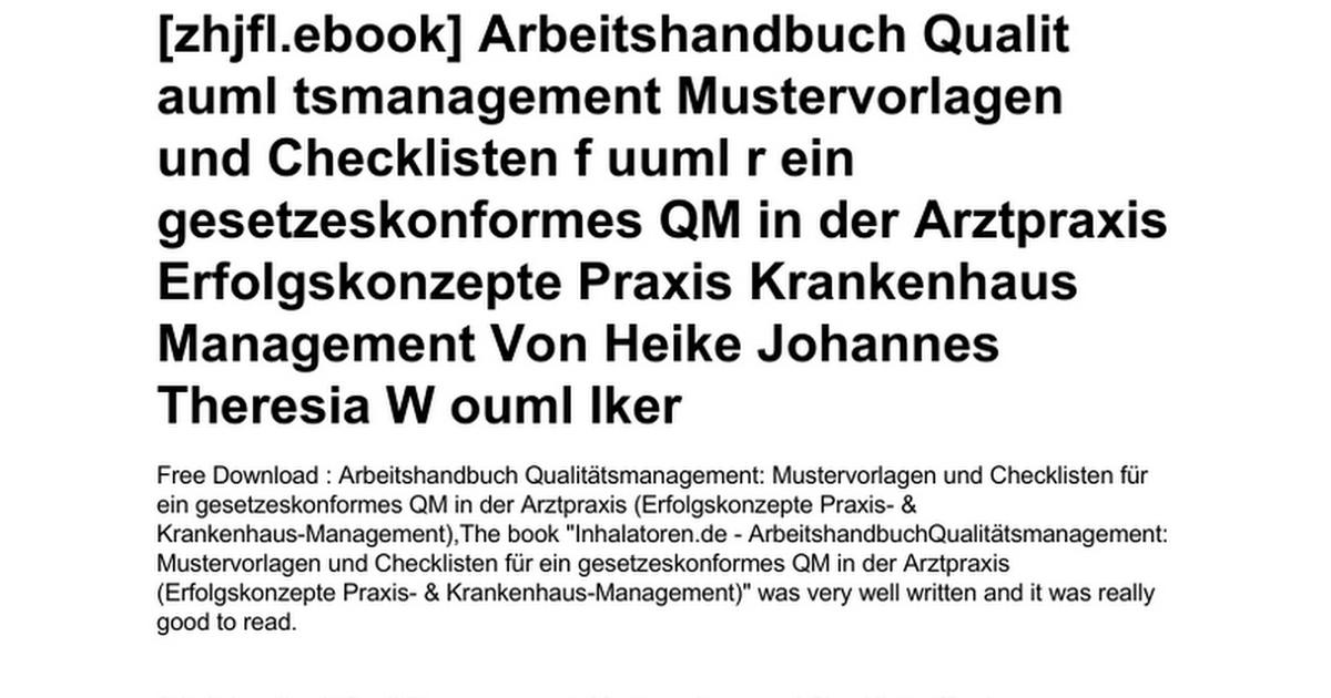 arbeitshandbuch-qualit-auml-tsmanagement-mustervorlagen-und ...