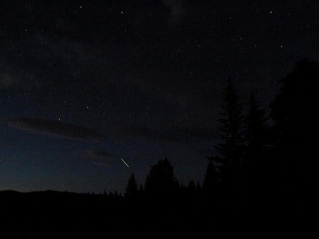 International Space Station streaking across the night sky