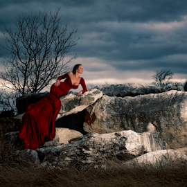 Almost Sunset by Shawnessy Ransom - People Portraits of Women ( moody sky, abandoned earth, fine art, lady in red, sunset, clouds )