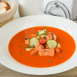 Tomato Puree Soup with Salmon and Cod