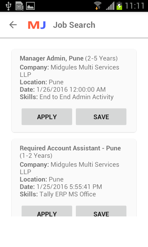 Midjobs.in Job Search- screenshot