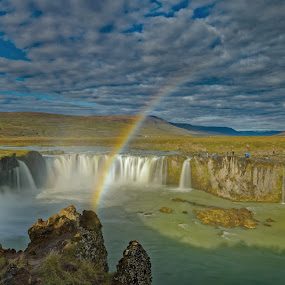 Rainbow above Godafoss, Iceland by Michaela Firešová - Landscapes Waterscapes ( iceland, waterfall, landscape, rainbow,  )