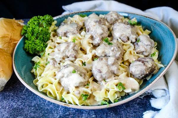 A Large Bowl Of True Old-fashioned Swedish Meatballs.
