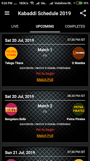 kabaddi schedule 2019 (points table and squad) screenshot 1