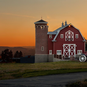 Barn in Sunset by Shaun Schlager - Buildings & Architecture Other Exteriors ( washington, red, barn, sunset, greenbluff, oranges, valley, tractor, silo,  )