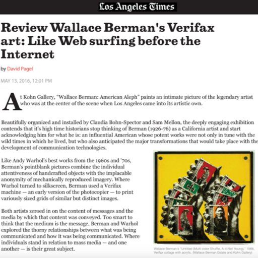 Review Wallace Berman, Los Angeles Times