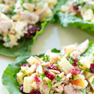 Curried Apple Cranberry Chicken Salad Lettuce Wraps.