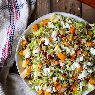 Shaved Brussel Sprout Salad with Roasted Butternut Squash