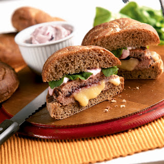 Harvest Stuffed Turkey Burgers with Cranberry Mayo