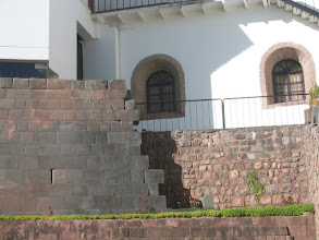 Photo: The Incas were masters of stonework. On the left is an Inca wall, the right is a Spanish wall. The Incas carved their stones exactly, so they fit without mortar. The Spanish needed mortar to hold the bricks in place.