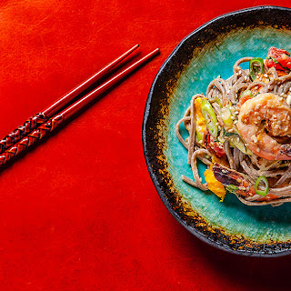Cold Soba Noodle Salad with Shrimp, Mango and Tomato