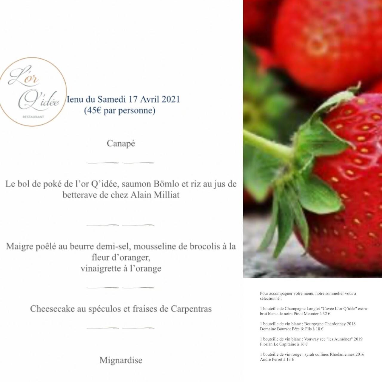 Le menu du 17 avril