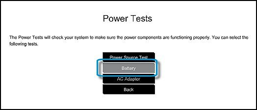 Selecting the Battery Test