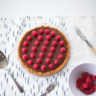Vegan Chocolate Ganache Pie With Raspberries