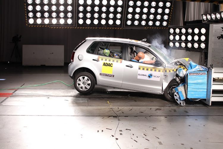 Volkswagen Polo VIVO during the crash test.