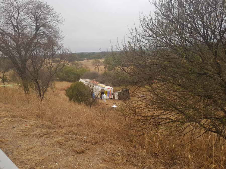 The scene of a deadly bus crash in Polokwane which claimed the lives of nine people.
