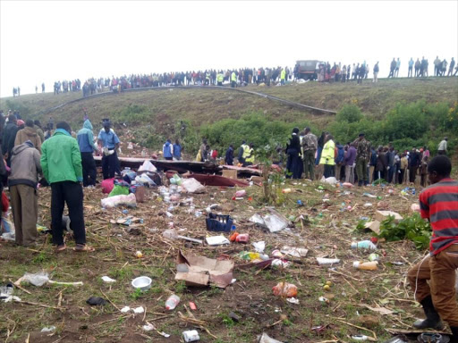 The scene of the accident on Wednesday in which 56 people.were killed./COURTESY
